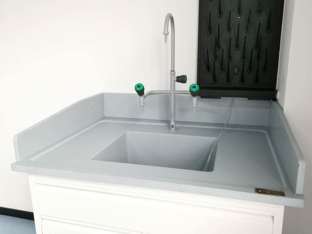 Grey 25mm Thickness Epoxy Resin Countertops With Molded Splash Edge Resist Scratch