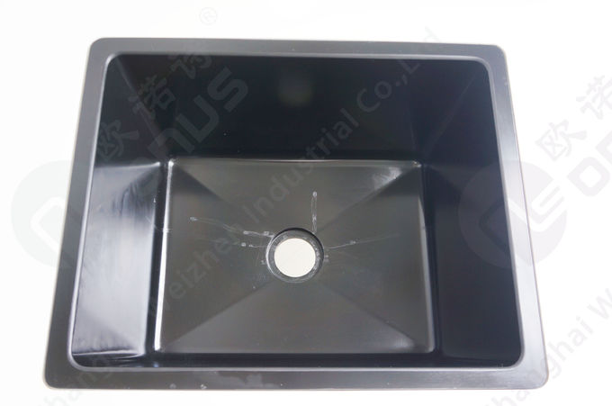 Black Color Epoxy Resin Sink With Drain Grooves Use For Science Lab Furniture